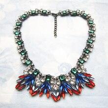 New Crystal Flower Necklaces & Pendants Women Vintage Choker Statement Necklace Luxury Fashion Design Pendant Necklace Jewelry