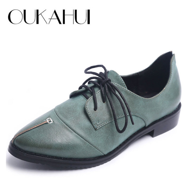 Spring\Autumn 2017 New British Retro Brogue Shoes For Women Thick Heels  Pointed Toe College