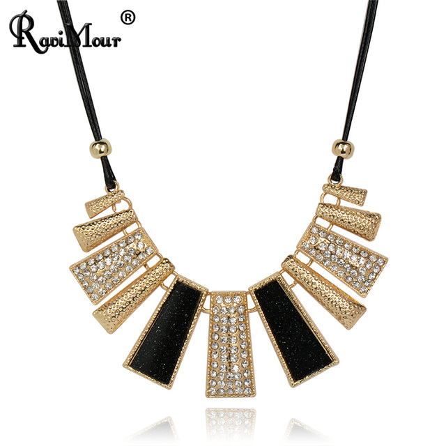 RAVIMOUR Collier Femme Fashion Necklaces & Pendants PU Leather Rope Resin Choker Necklace for Women Mujer Accessories Jewelry