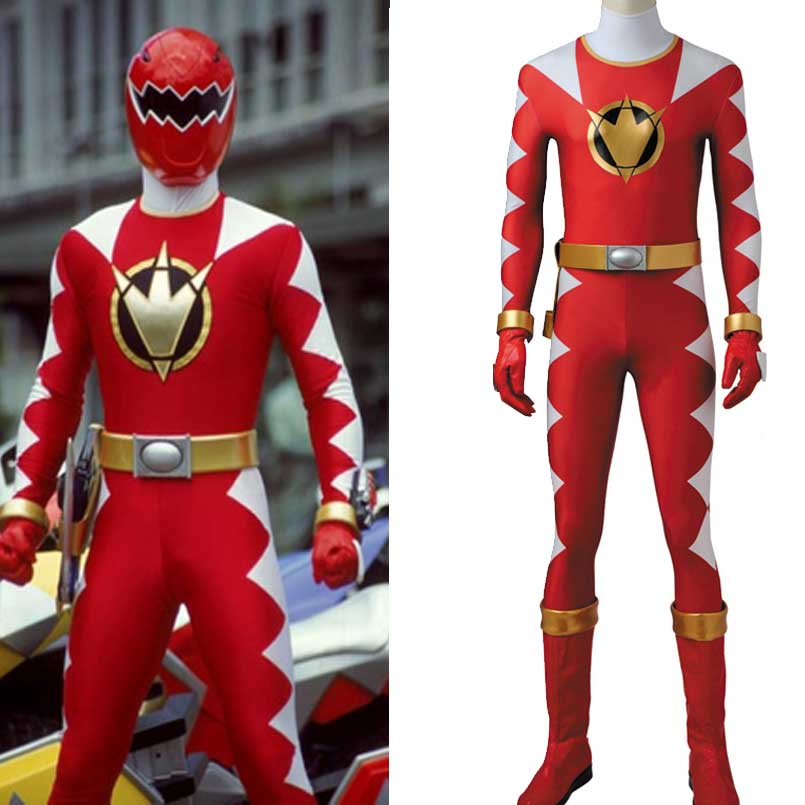 Tyranno Red Dino Ranger cosplay costume Carnival costumes Accessories holster Dino Thunder Red Ranger jumpsuit Gloves