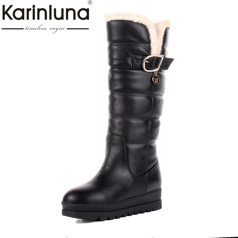 KARINLUNA large size 34-43 rubber bottom red black knee high boots fashion waterproof platform women shoes woman snow boots fur цена