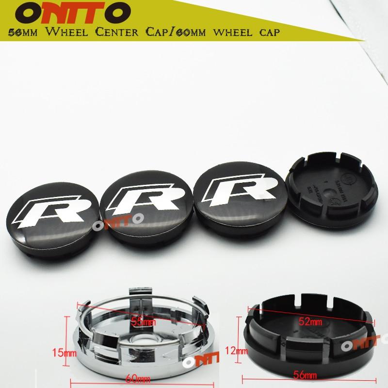 4pc Black ABS 56mm 60mm 65mm R Line Car Wheel Center Caps Auto Accessories Emblem R logo For Scirocco Tiguan Wheel Centre Caps
