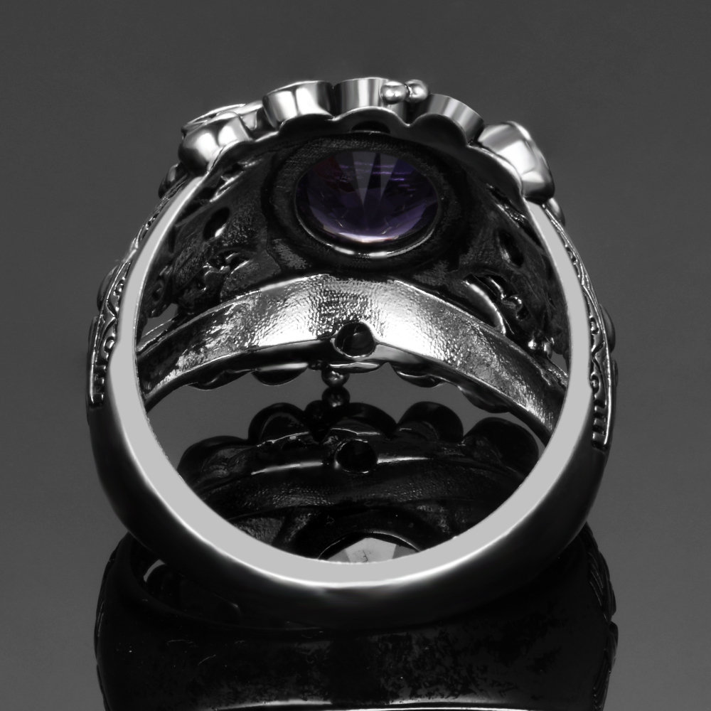 HTB1P0GvaLfsK1RjSszbq6AqBXXaw Vintage Jewelry 3ct Amethyst 925 Sterling Silver Ring Round Cut Purple Nature stone Women Wedding Anel Aneis Gemstone Rings