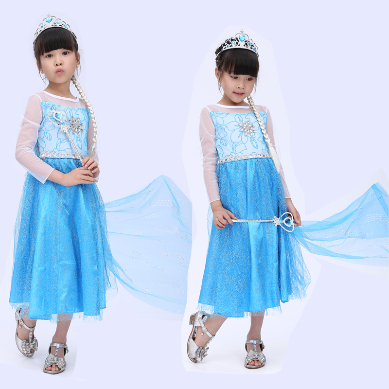 Free shippinnew children's  princess dress girls dress cosplay ELSA  Queen Kids summer skirt dress show