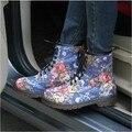 2016 Весной И Осенью Цветочные Ретро Высокой верхней Мартин Сапоги Уличная Мода Джинсовые Печати на низком каблуке Сапоги женские