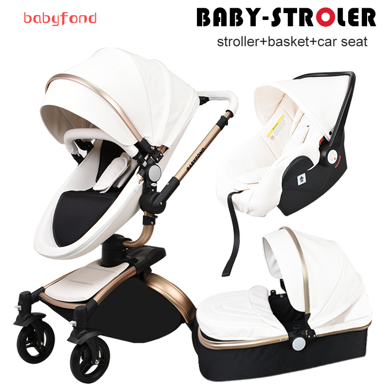 Babyfond Leather stroller luxury baby stroller 3 in 1 folding four wheels baby stroller baby car child stroller send gifts