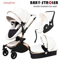 Babyfond Leather Stroller Luxury Baby Stroller 3 In 1 Folding Four Wheels Baby Stroller Baby Car