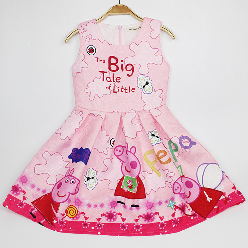 Подробнее о Girls Summer Dresses Peppa pig Costume 2017 Brand Princess Dress Girl Clothing Robe Kids Clothes For 3-8 Years Old baby girl dress 2016 brand girls summer dress children clothing lemon print kids dresses for girls clothes robe princesse fille