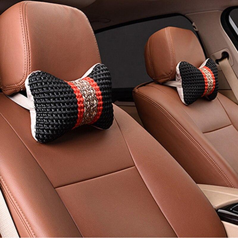 2 PCS Nap Sleeping Headrest PU Car Pillow Car Ergonomic Neck Flight Pillow Car Nap Neck Pillow For Travel Neck Cushion Pattern A