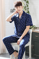 Male Sleepwear Spring And Autumn 100 Short Sleeve Cotton Casual Set Plus Size Cardigan Twinset Lounge