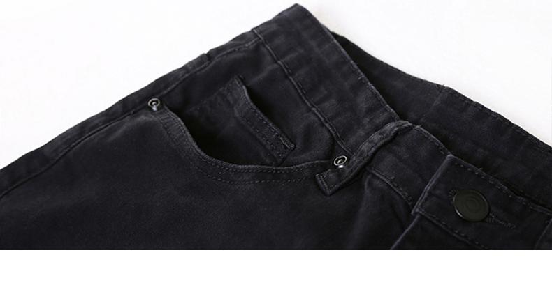 KSTUN 2018 Summer Ripped Jeans for Men Black High Stretch Knee Holes Skinny Torn Men's Biker Jeans