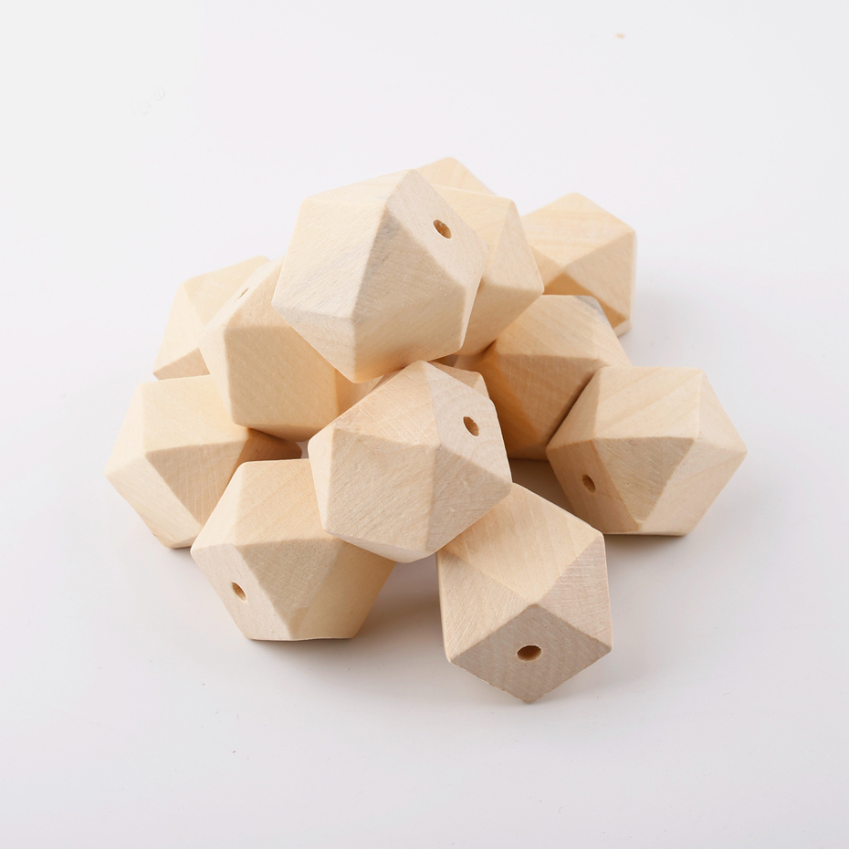 10PC 16MM Baby Wooden Teether Rodents Wooden Hexagon Beads DIY Jewelry Baby Products Nurse Gifts Bite Chew Baby Teething Product