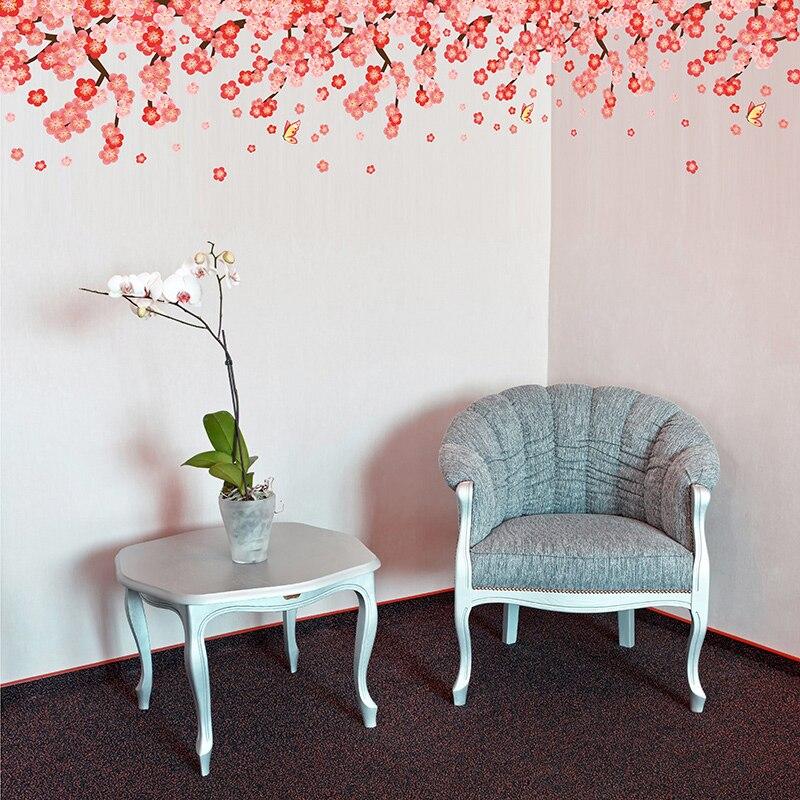 shijuehezi blume wandaufkleber kirschblte kirschblten rot holi pulver wandtattoos fr wohnzimmer schlafzimmer hochzeit - Wandtattoo Fur Wohnzimmer