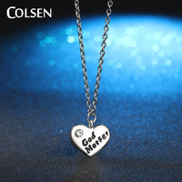 COLSEN new Women's Classic Collection GOD MOTHER Heart Necklace Mother's Day Gift Jewelery Hot Imitation diamonds Pendant bijoux