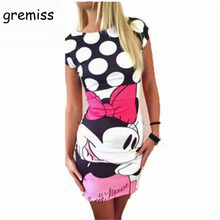 ddf584d735a Gremiss Fashion Women Summer Dresses Short Sleeve Slim Bodycon Cartoon Mouse  Print Sexy Mini Dress Plus Size S-3XL. US  7.51   piece Free Shipping