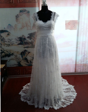 MANSA 2015 Vintage Lace Wedding Dress With Cap Sleeves Bohemian Beach Gown Backless Long Bride Dresses Vestido De Noiva