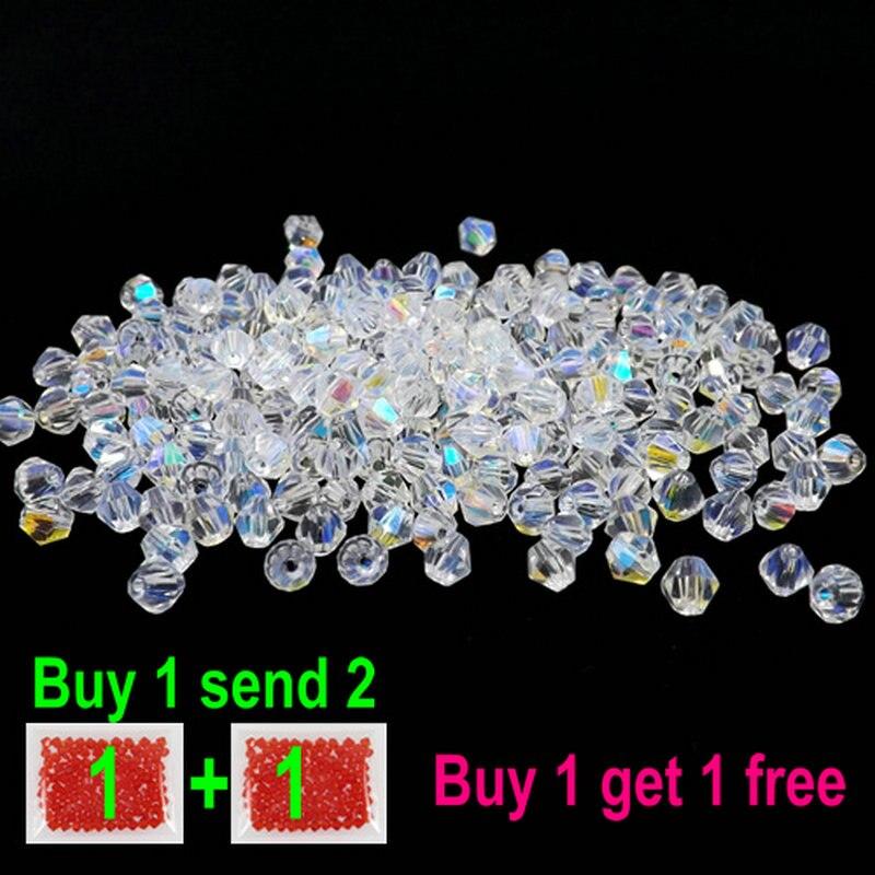 Купить 1 и получить 1 бесплатно всего 200 шт. красочные 4 мм биконические бусы Стекло бисер Свободные Spacer браслет ювелирных изделий DIY