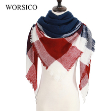 ZA Winter Scarf Fashion Women Scarf Luxury Plaid Cashmere Scarves Women Triangle Bandage Bufanda Wholesale 140