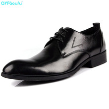 QYFCIOUFU 2019 New British Style Mens Pointed Toe Dress Shoes Genuine Leather Business Social Shoe Lace-up Men's Suit Shoes