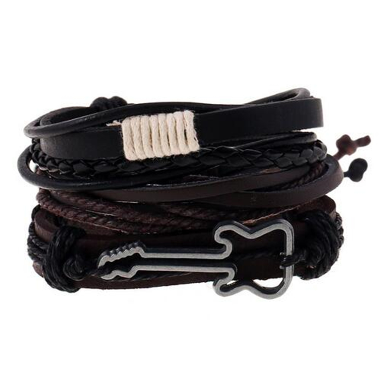 New Punk Beads Wing Charm Handmade Woven Men Leather Bracelets Women Vintage Bangle Male Homme Men Jewelry Accessories