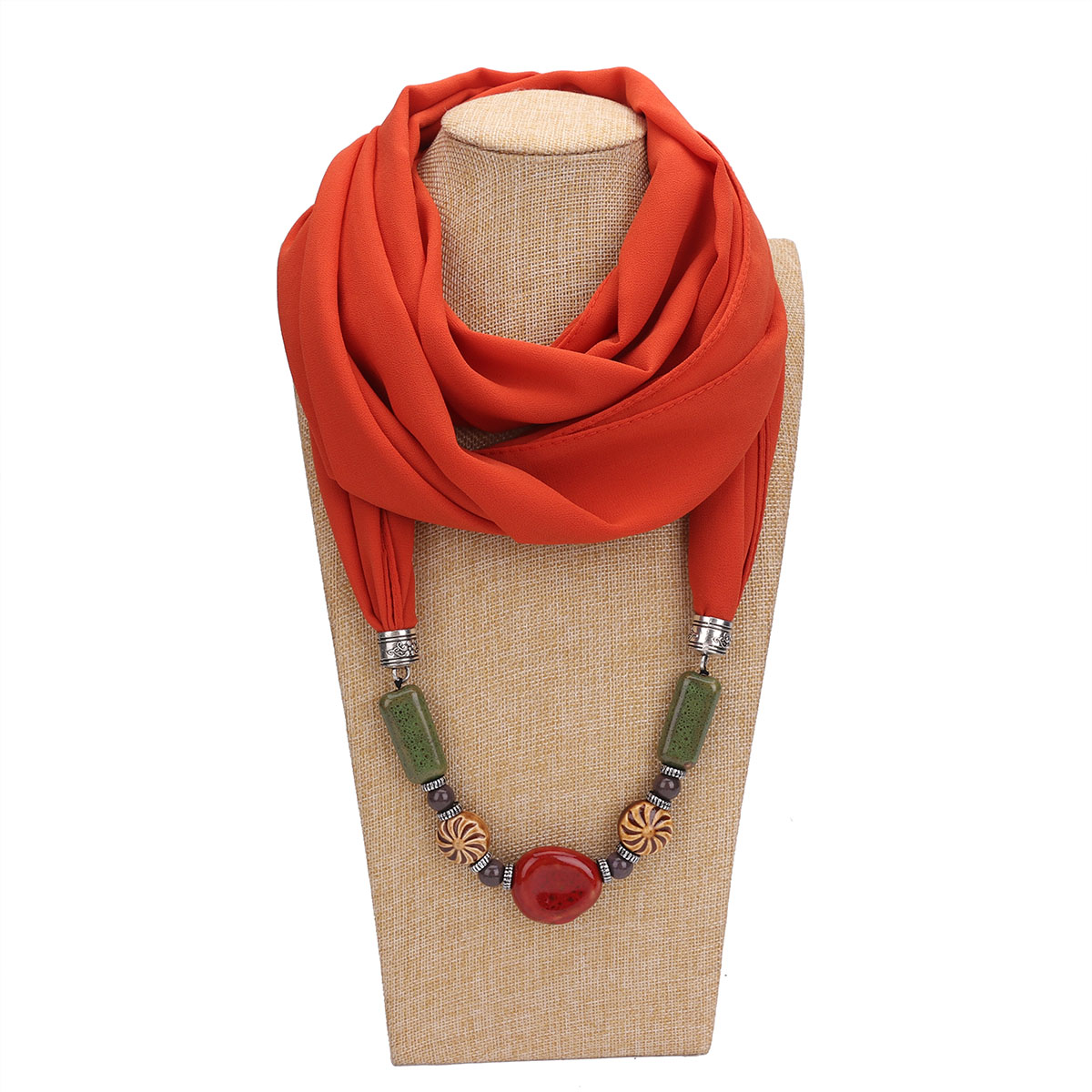 Fashion Voile Jewelry Tassel Necklace Silk Scarf Beaded Scarf Women's Cotton Scarf Headscarf Free Shipping