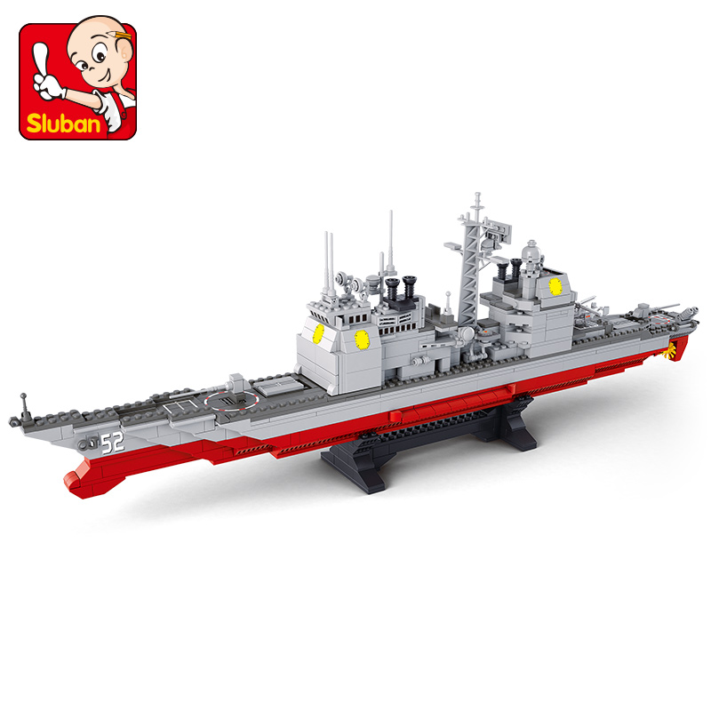 S Model Compatible with Lego B0389 883pcs Navy Cruiser Models Building Kits Blocks Toys Hobby Hobbies For Boys Girls sluban 883pcs military series army navy warship model building blocks cruiser plane carrier bricks gift toys for children