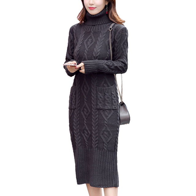 09b77c9e6be Casual Slim Midi Dress Women Winter 2018 New Arrival Knitted Sweater Dress  Long Sleeve Turtleneck Twist
