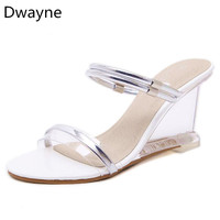 Dwayne 2018 New Sexy Crystal Clear High Heels Shoes Simple Women Slope Transparent Sandals Woman S