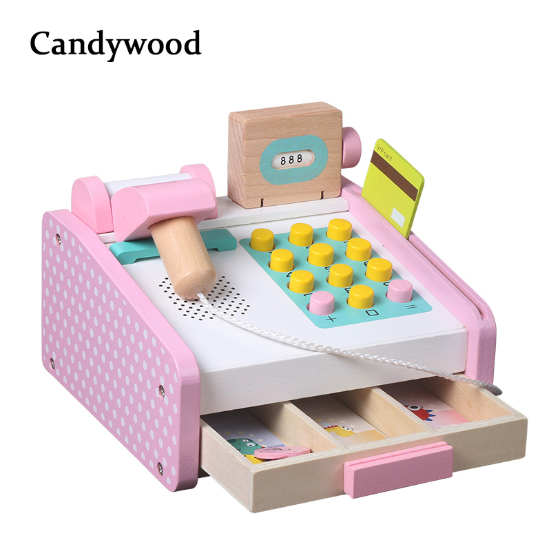 Candywood Pretend Play Groceries Toys Supermarket Cash Register Scanner Checkout Counter toys for children kids girl gifts