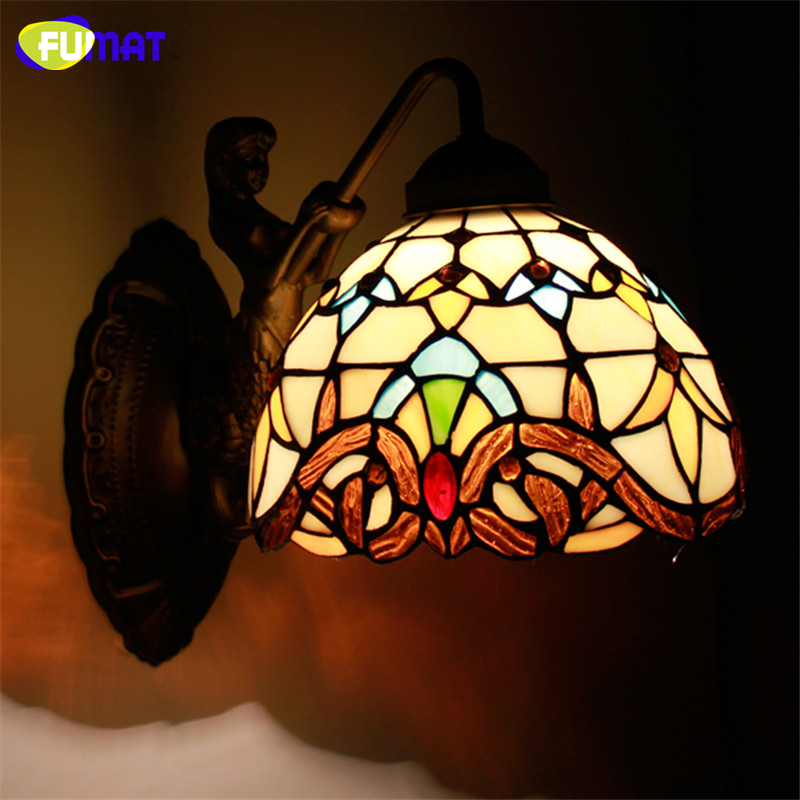 FUMAT Wall Light Mermaid Body Stained Glass Shade Lamp Corridor Bar Restaurant Hotel Lights Mirror Front Light Wall Sconce fumat stained glass ceiling lamp european church corridor magnolia etched glass indoor light fixtures for balcony front porch