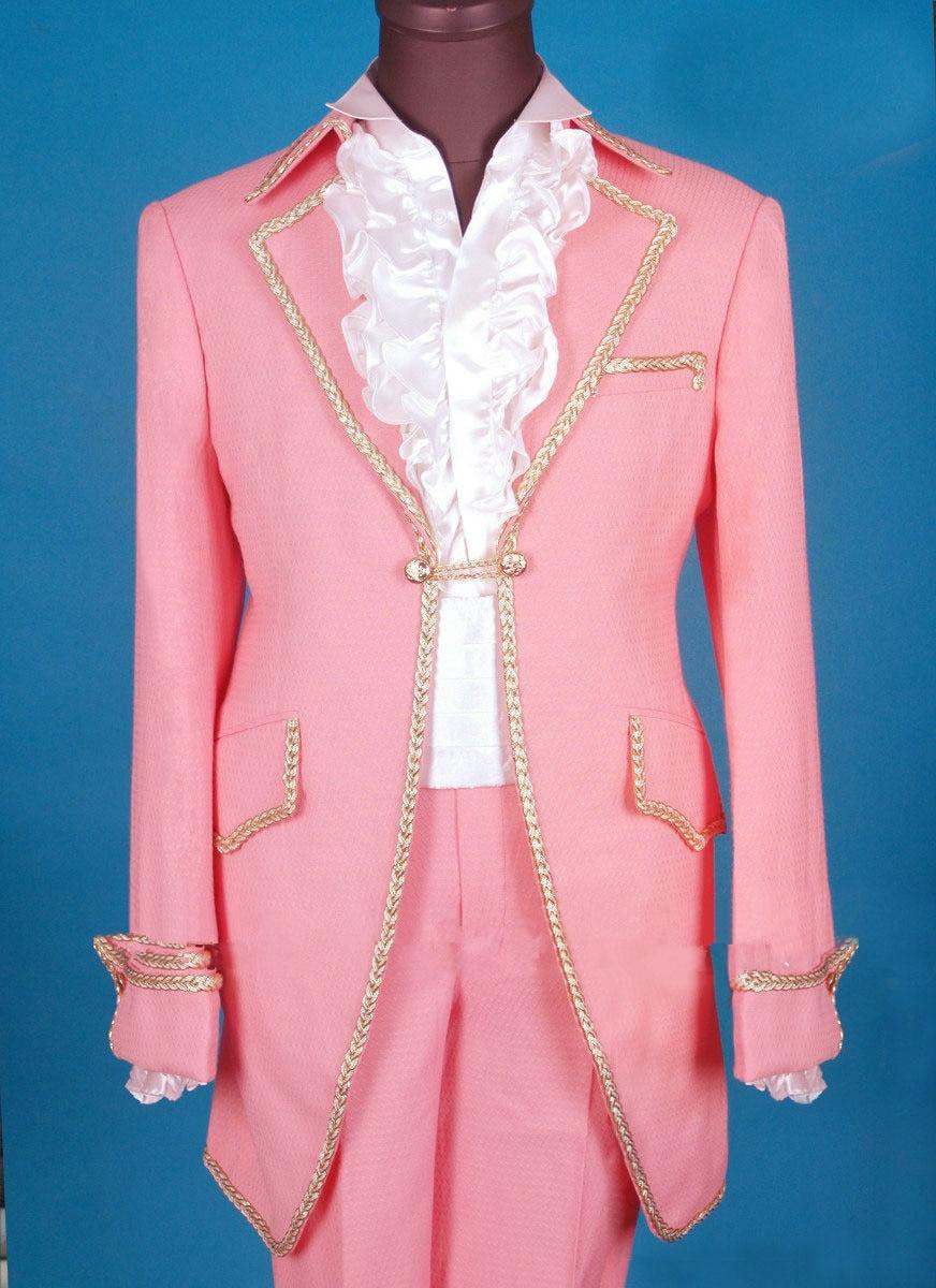 Vintage Wedding Pink Tuxedo Jacket Men Groom Styles Long Wedding ...
