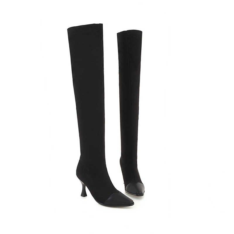 WETKISS Artı Boyutu 34-48 Yüksek Topuklu Streç Kadın Çizmeler Kare Ayak Ayakkabı Diz Kadın Çizme Ayakkabı kadın 2018 Kış