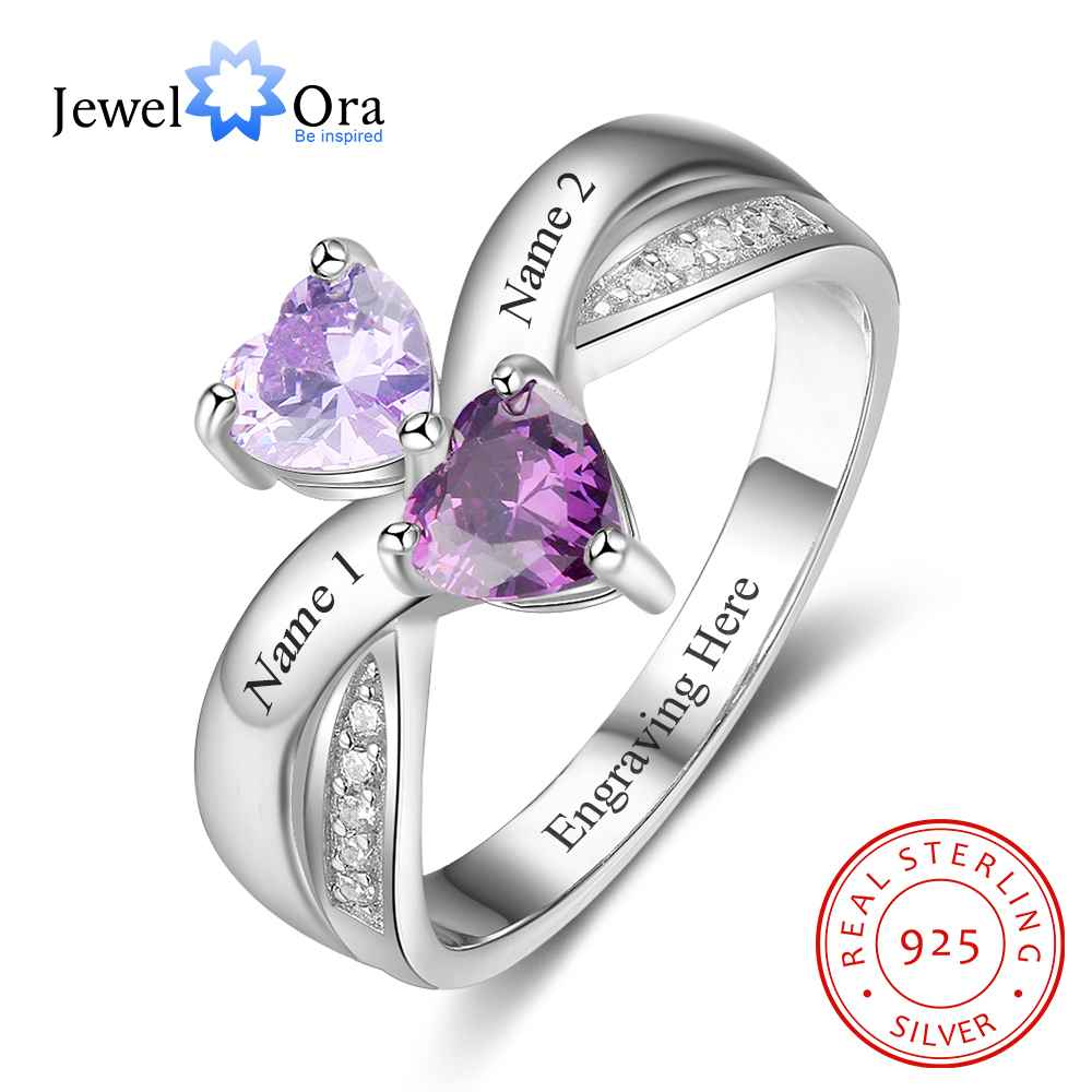 personalized heart birthstone custom engrave 2 names promise ring love 925 sterling silver anniversary gift jewelora ri103269 Promise Rings Personalized Heart Birthstone Engrave 2 Names 925 Sterling Silver Jewelry Love Gift For Her (JewelOra RI103264)