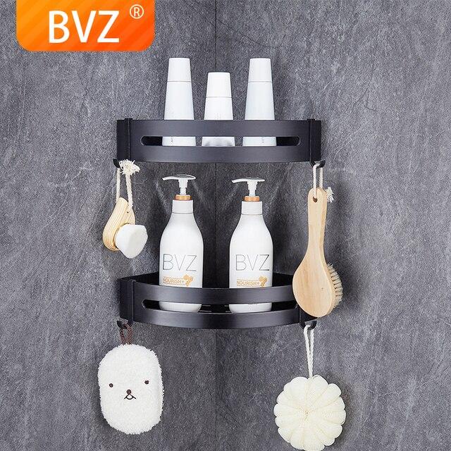 BVZ półka łazienkowa przestrzeń aluminiowa czarna akcesoria łazienkowe koszyk pod prysznic półki narożne przechowywanie w kuchni uchwyt na szampon do kąpieli