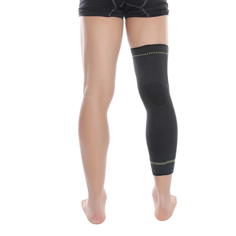 Hot elastico di colore giallo-verde della banda allunga sport knee pad leg manica antiscivolo fasciatura di compressione gamba più caldo per il gli uomini e le donne