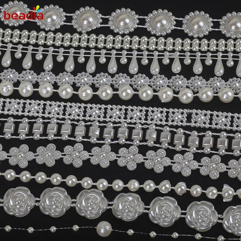 Мм Лидер продаж 3-10 мм ABS имитация жемчуга бусины цепи отделка для DIY Свадебная вечеринка украшения и ювелирных изделий ремесло оголовье 2-10 м