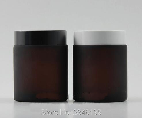 100G 100ML Brown Color Glass Cream Jar Empty Cosmetic Hire Care Cream Pot Black White Color Lid Amber Glass Jar 10pcs/lot