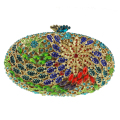 Green Ladies Crystal Clutch Purse for Party Oval-shaped Shoulder Bags Lady Clutch Bag Flower Crystals with Chain Link