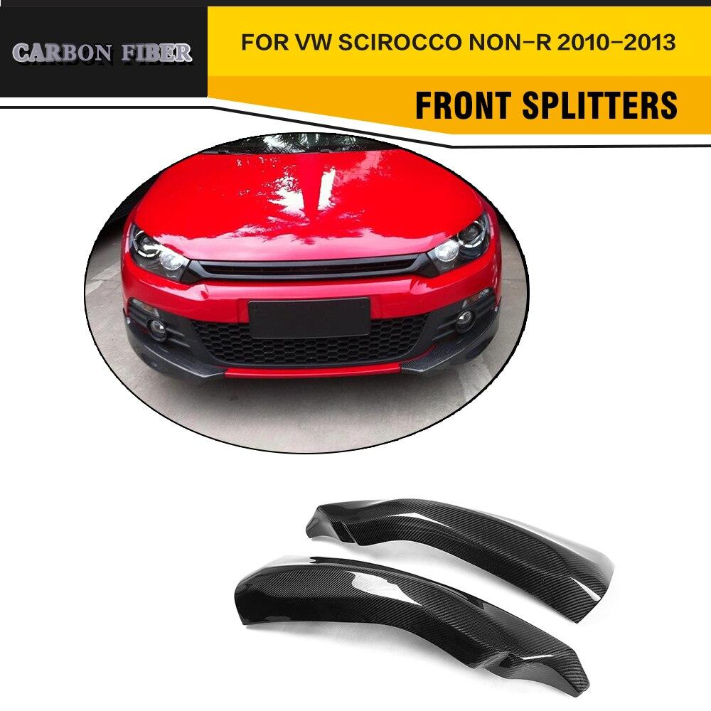 Углеродного волокна Side фартук авто передний бампер разветвители подходит для VW Scirocco Стандартный только 10-13 не R