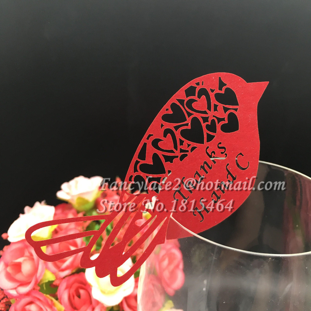 50pcs Love Birds Glass Cards Laser Cutting Place Name Cards Men ...