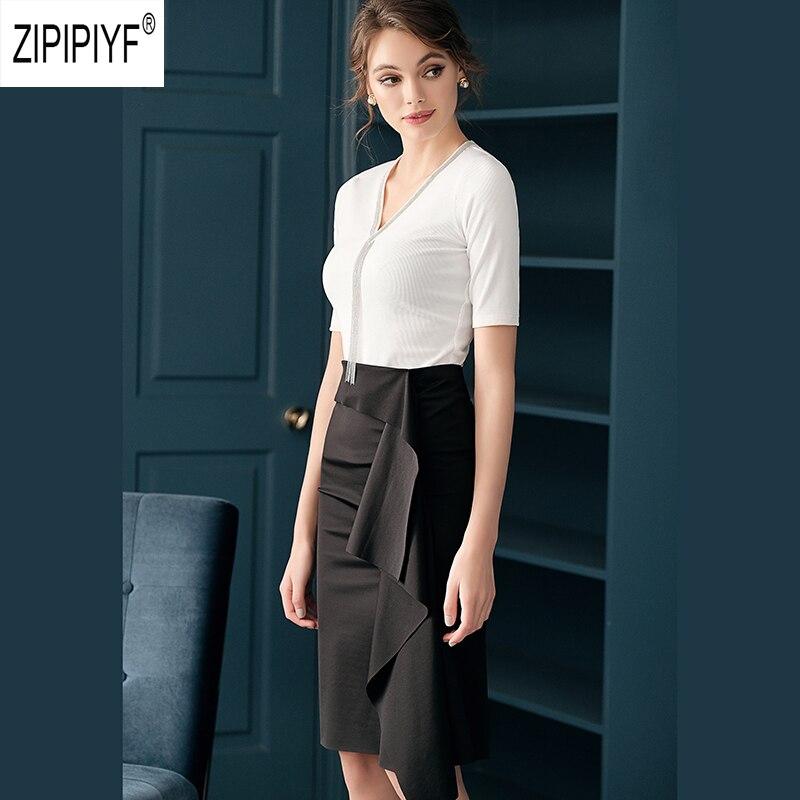 Hot Selling Fashion Vrouwen Rok Ruches Knielengte Office Lady Rok Casual Lady Rok Z1647-in Jurken van Dames Kleding op  Groep 2