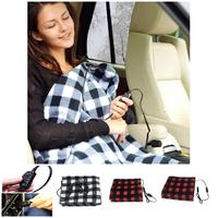 Hot 12V Electric Heated Car Truck Fleece Blanket Winter Warm Travel Cover Heater FQ ing