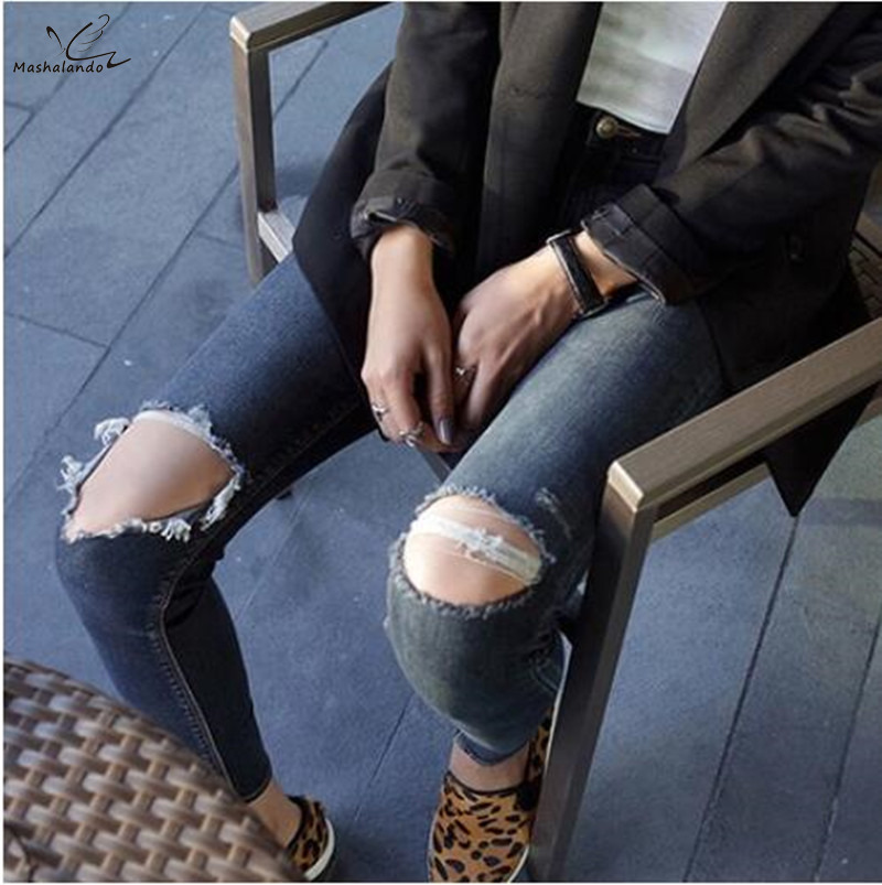 Fashion 2016 New Brand Skinny Hole High Waist Jeans Woman Korean Slim Thin Pencil Pants Capris Dark Blue Plus Size Ripped Jeans