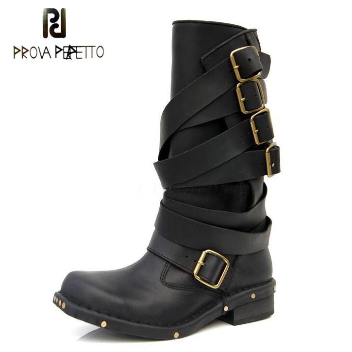 Prova Perfetto Punk Style Women Platform Mid-calf Boots Black Brown Genuine Leather Buckle Strap Shoes Female Martin Boots zippers double buckle platform mid calf boots