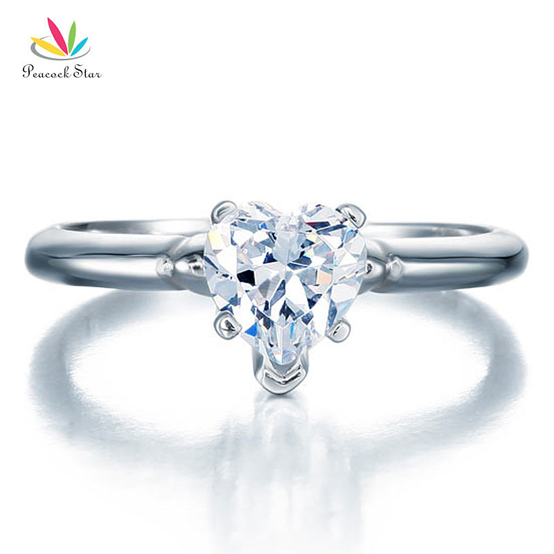 Peacock Star 1.5 Carat Heart Cut Wedding Anniversary Engagement Sterling Solid 925 Silver Ring Jewelry CFR8034