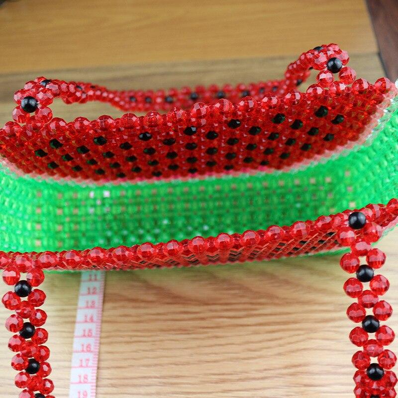 Sac de perles fait main femme sac de perles Bolsa Feminina sac à main sac de soirée rétro chemise poignée perle motif pastèque rouge sac à main - 3