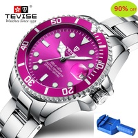 Quartz Watch Women TEVISE T801 Women Watch Stainless Steel Date Luminous Hands Water Resistant Girls Wrist Watches For Women