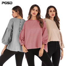 PGSD Spring summer Fashion simple big size women clothes Round collar puff sleeve Button Loose checked texture T-shirt female