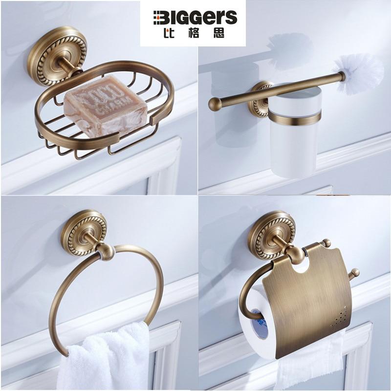 Бесплатная доставка, классический дизайн античная бронза набор для ванной 4 шт. медь мыльница полотенце кольцо бумаги держатель туалетной щетки