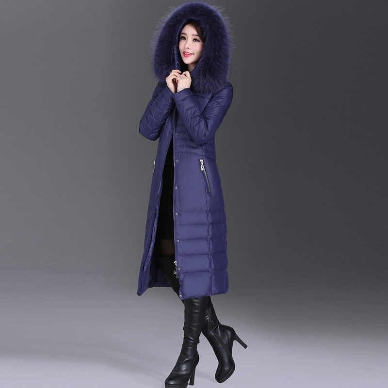AYUNSUE 2019 Зимний пуховик женский длинный тонкое женское пальто женские куртки с натуральным меховым воротником плюс размер 5XL WYQ800
